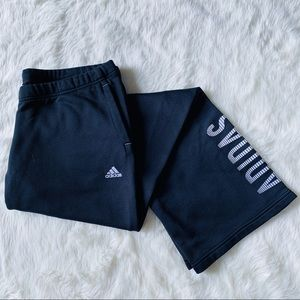 Adidas Black Sweatpants Wide Leg Large Logo